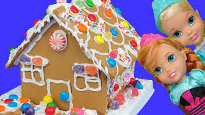 gingerbread house building elsa anna toddlers built it candies