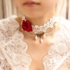 rose choker necklace images Gorgerous gothic lolita red rose lace choker necklace ac0250 on luulla jpg