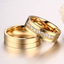 wedding rings couple images 6mm stainless steel wedding ring for lovers ip gold color crystal jpg