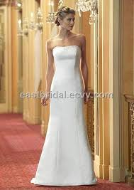 informal wedding dresses simple a line strapless sleeveless satin and lace informal wedding