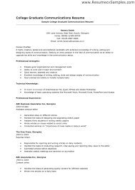 Resume Examples For No Experience College Graduate Resume With No Work Experience