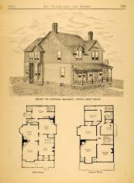 Victorian Home Plans 1884 Print Victorian Architecture House Design Augustus Howe Floor