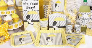 mod baby shower yellow cookie candy baby shower buffet partyworx