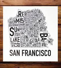 Neighborhood Map San Francisco Neighborhood Map Art Print Art Prints U0026 Posters