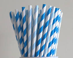 light blue candy sticks navy blue striped paper straws party supplies party decor bar