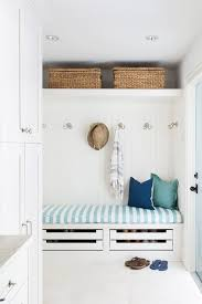 Mud Bench Beach Bungalow Mudroom Bench With Stacked Shoe Drawers Cottage