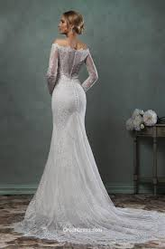 destination mermaid off the shoulder lace long sleeves wedding