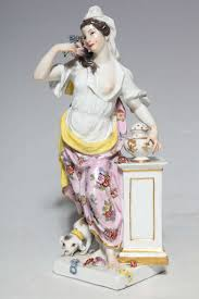 pair of 18th century meissen porcelain figurines of the sense for