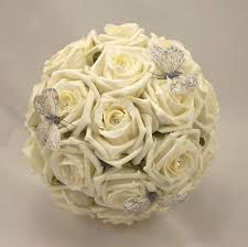 wedding flowers silk bridesmaid s bouquets ivory diamante butterfly bouquet