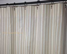 Wide Fabric Shower Curtain Stripe Shower Curtain Ticking Grey White 72 X 84 108