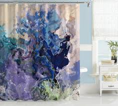 contemporary shower curtain purple aqua blue dark blue green