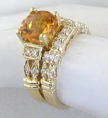 citrine engagement rings citrine engagement ring in 14k yellow gold with 3 matching band