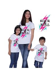 rock n roll mother and kids matching printed t shirts