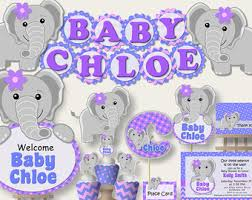 purple elephant baby shower decorations purple gray elephant etsy