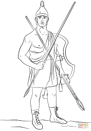 ancient greek soldier agrianian peltast coloring page free