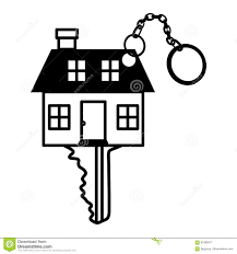 silhouette key monochrome with shape house stock vector image