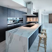 waterfall edge countertop kitchen midcentury with frosted glass