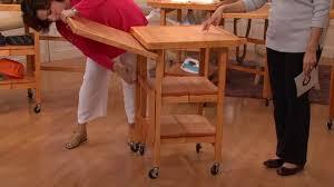 folding kitchen island cart folding island expandable hardwood kitchen cart page 1 qvc com