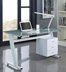 Glass Topped Computer Desk Details About Computer Desk Black Or White With Glass Top And 3