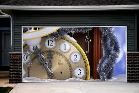 garage door covers 3d banners clock time