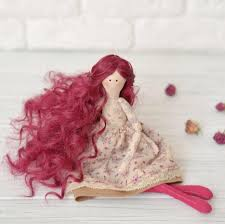 flower girl doll gift rag doll with curly hair gift cloth doll handmade