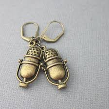 are leverback earrings for pierced ears microphone charm earrings antiqued gold brass retro leverback wire