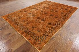 Brown Paisley Rug Unique Paisley Motif 7 U0027x10 U0027 Orange Overdyed Hand Knotted Wool Area