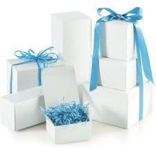 assorted gift boxes white one gift box assortment various size bags and bows