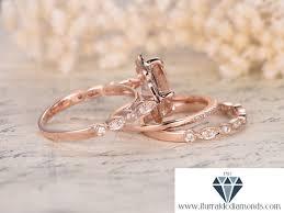 8mm floral cushion cut morganite engagement ring set matching art