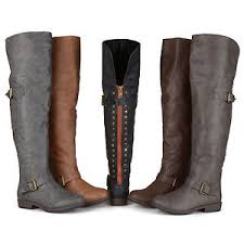 womens boots large calf brinley co womens wide calf the knee inside pocket buckle