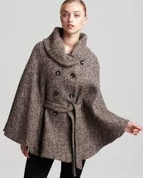 calvin klein tweed cape in brown lyst