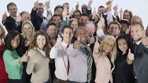 portrait of a large of happy and diverse business who