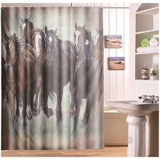 aliexpress com buy running horse polyester shower curtain panel