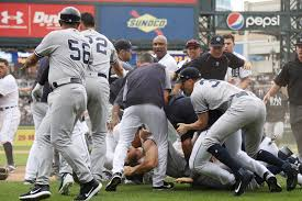 tigers yankees involved in benches clearing brawl houston chronicle