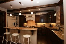 glass windows and cream wall dark kitchen cabinets granite cream
