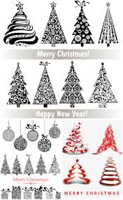 White Christmas Tree With Black Decorations 3 Sets Of 28 Vector Ornate Stylized Christmas Trees With Floral