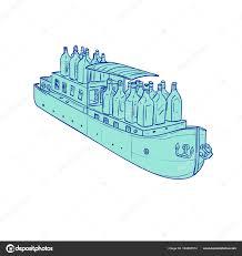 gin bottles on barge boat drawing u2014 stock vector patrimonio