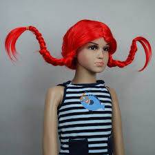 Pippi Longstocking Costume Pippi Longstocking Red Pigtail Kids Children Halloween Wig
