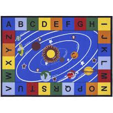 Kids Playroom Rug Ottomanson Jenny Blue Base Educational Our Solar System Non Slip