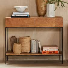 Wooden Console Table Industrial Storage Console West Elm