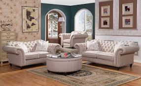 classic sweetheart button tufted sofa u0026 loveseat set in beige linen