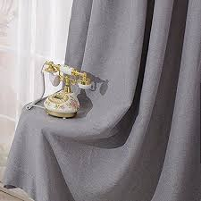 Home Classics Blackout Curtain Panel Leyden Grommet Top Classic Solid Gray Linen Curtains Panel
