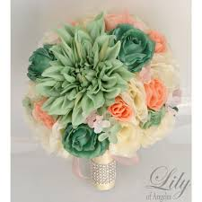 Mint Green Corsage Peach Teal Mint Ivory
