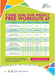 free workout schedule come join our weekly free workouts at health promotion board