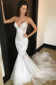 spaghetti wedding dress mermaid spaghetti straps court ivory tulle wedding dress