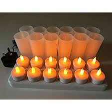 page one design 12 led flickering rechargeable tea lights candle