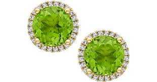 peridot stud earrings lyst mcdonough grace green peridot diamond stud earrings