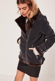 black and brown faux fur lined aviator jacket missguided