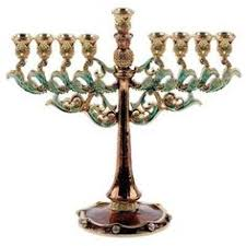pewter menorah enameled and jeweled pewter menorah brown with emerald