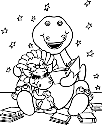 barney reads baby bop coloring wecoloringpage